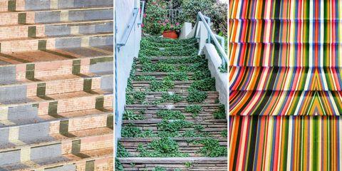 Green, Stairs, Leaf, Line, Parallel, Garden, Brick, Plantation, Brickwork,