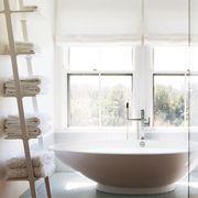 Bathroom, White, Room, Property, Interior design, Bathtub, Tile, Floor, Tap, Furniture,