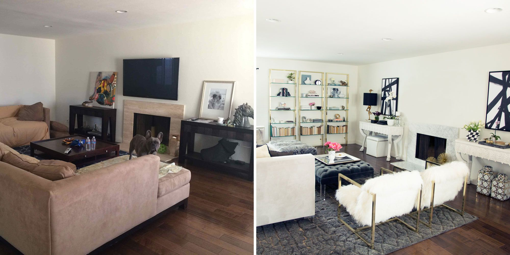 BEFORE + AFTER: A Fashion Blogger Remakes Her Dark Living Room ...