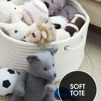 """<p>A soft, lidless tote is a chic way to corral baby toys like stuffed animals and blocks—and whisk them away when playtime is over. Down the road, it becomes a cute container for magazines, beach towels and more.</p><p><em>Toys, </em><a href=""""http://www.melissaanddoug.com/"""" target=""""_blank""""><em>melissaanddoug.com</em></a><br></p>"""
