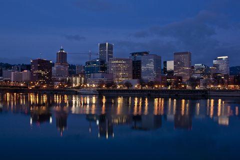 Blue, Sky, Metropolitan area, Reflection, City, Tower block, Night, Urban area, Metropolis, Cityscape,