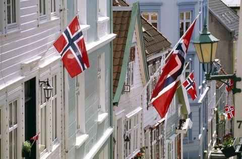 Flag, Window, Property, Facade, Building, Real estate, Home, House, Carmine, Pole,