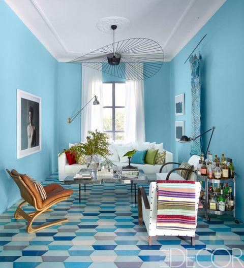 Blue, Green, Interior design, Room, Wood, Floor, Furniture, Teal, Turquoise, Ceiling,