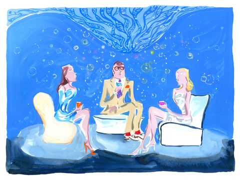 Sitting, Interaction, Art, Majorelle blue, Paint, Painting, Illustration, Love, Drawing, Lap,