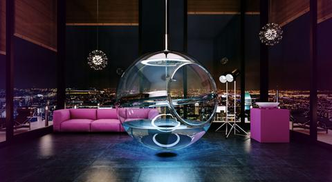 Interior design, Purple, Magenta, Couch, Light fixture, Violet, Interior design, Decoration, Design, Transparent material,