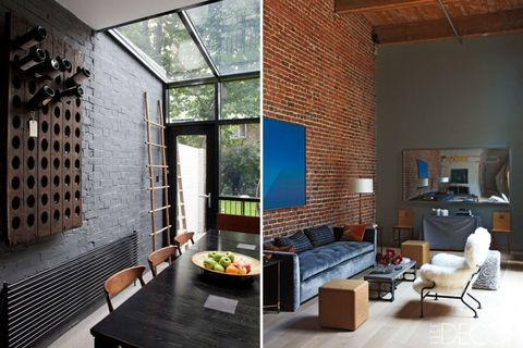 A Painted Brick Wall Shown At Left Is An Easy Way To Hide Traditional Red Right