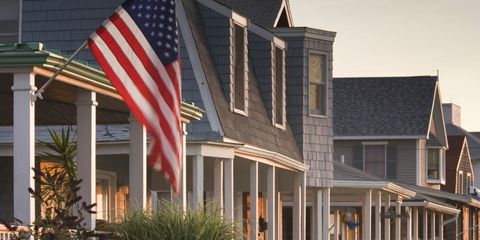 Flag, Property, Flag of the united states, Real estate, Home, Porch, House, Residential area, Door, Stairs,