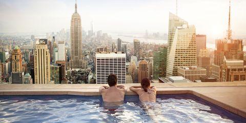 Tower block, Swimming pool, Tower, City, Metropolitan area, Leisure, Condominium, Building, Urban area, Apartment,