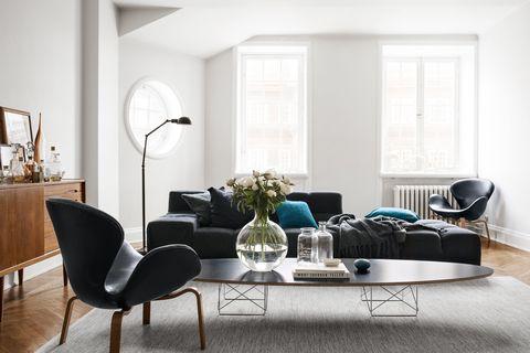 Room, Floor, Flooring, Interior design, Furniture, Home, Interior design, Fixture, House, Grey,