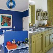 Blue, Room, Green, Interior design, Floor, Home, Plumbing fixture, Furniture, Countertop, Wall,
