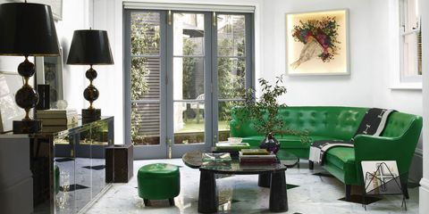 Green, Room, Interior design, Couch, Wall, Furniture, Table, Interior design, Living room, House,