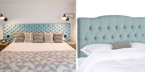 Blue, Room, Interior design, Bed, Textile, Wall, Bedding, Pillow, Linens, Furniture,