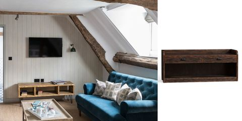 Wood, Blue, Room, Interior design, Wall, Furniture, Living room, Hardwood, Couch, Home,