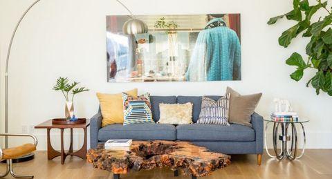 Blue, Room, Interior design, Green, Wood, Furniture, Textile, Home, Wall, Interior design,