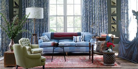 Blue, Interior design, Room, Wood, Living room, Couch, Furniture, Wall, Floor, Home,