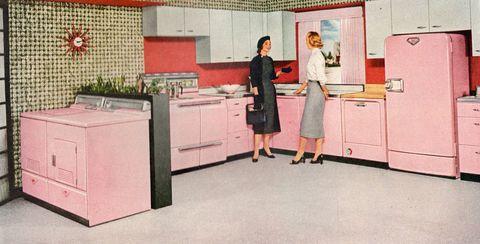 Room, Floor, Countertop, Flooring, Pink, Cabinetry, Interior design, Major appliance, Kitchen, Cupboard,
