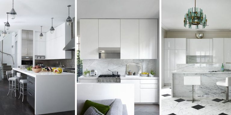 theres nothing more sleek and stylish than an all white kitchen check out 35 of our favorites from the elle decor archives for a refreshing dose of - White Kitchen Design Ideas
