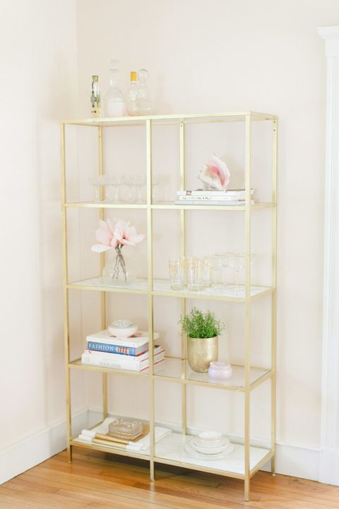 Shelving, Room, Shelf, Peach, Wood flooring, Display case, Plywood,