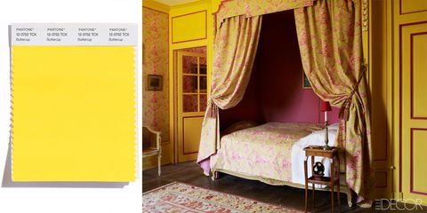 Bed, Room, Interior design, Yellow, Property, Textile, Floor, Furniture, Bedroom, Linens,