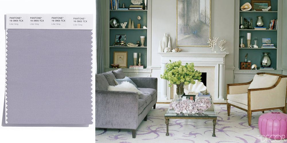 Pantone Spring Colors Decorating Ideas - Grey and lilac living room