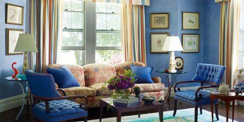 Blue, Room, Interior design, Furniture, Living room, Table, Couch, Wall, Interior design, Coffee table,