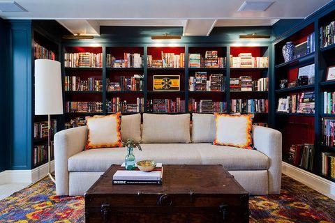 Room, Interior design, Shelf, Shelving, Living room, Furniture, Couch, Table, Bookcase, Interior design,
