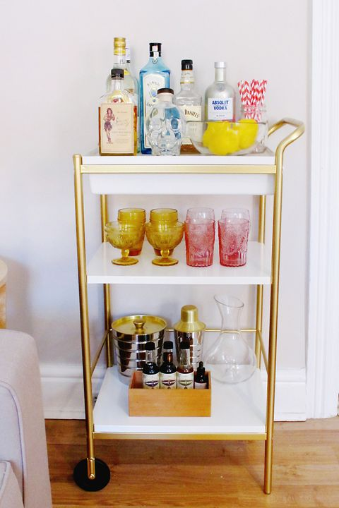 10 Bar Cart Styling Ideas How Designers Style A Bar Cart
