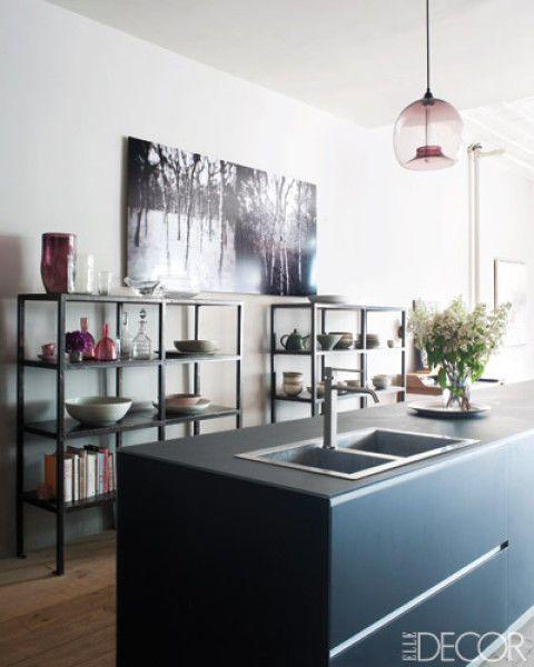 11 black kitchen design ideas pictures of black kitchens elle decor - Manhattan Kitchen Design