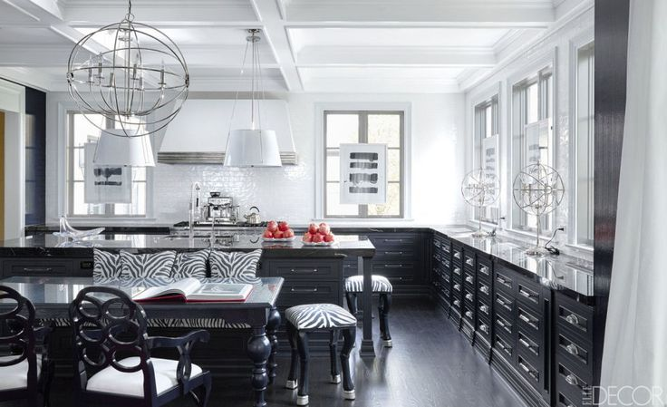 Black and white kitchen design with modern furniture