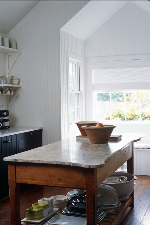 <p>Most kitchens are a series of square and rectangular sections, so opting for other shapes can give your kitchen a cutting-edge look. A simple application: Choose circular posts for kitchen furniture. A bit more daring? Opt for a live edge wood slab atop your island or countertop.</p>