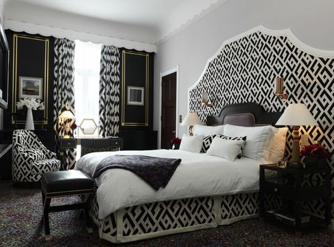 """<p>DVF's love of patterns—and her iconic chain print—come to life in The Grand Piano Suite at at Claridge's London. The two bedroom, 1915 square foot suite boasts a private bar, marble fireplaces, a grand piano and wall art of photographs taken by Diane herself on her worldly travels. Occupants also have access to a 24 hour personal butler service. </p><p><em>The Grand Piano Suite at Claridge's London, for more information and bookings, <a href=""""http://www.virtuoso.com/hotels/6163909/claridges?search=claridge%27s&mode=Gts#.U9_Y0zcnLcs"""" target=""""_blank"""">virtuoso.com</a>. </em></p>"""