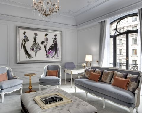 """<p>Parisian elegance is transported to New York with Dior's regal hotel suite at the St. Regis. Featuring incredible views of Central Park and Fifth Avenue, the suite's muted color palette takes inspiration from Dior's ateliers in Paris. The 1,700 square foot room includes an 8 person dining room, marble bathroom, king bedroom suite, spacious living room area and 24 hour butler service because,<em> of course</em>. </p><p><em>The Dior Suite at the St. Regis New York, for more information and bookings visit <a href=""""http://www.virtuoso.com/hotels/6164372/the-st-regis-new-york?search=st.%20regis%20new%20york&mode=Gts#.Vh0_MLRVikp"""" target=""""_blank"""">virtuoso.com</a>. </em></p>"""