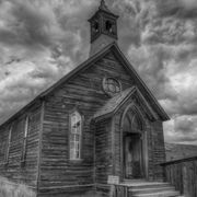 Cloud, Monochrome, Monochrome photography, Style, Rural area, Door, Black-and-white, Church, Shack, Chapel,