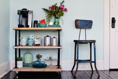 Serveware, Shelving, Teal, Turquoise, Still life photography, Dishware, Stool, Vase, Bottle, Flower Arranging,