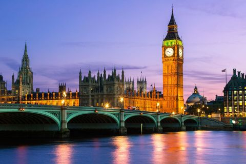 Clock tower, Tower, City, Reflection, Waterway, Bridge, Spire, Landmark, Metropolitan area, Channel,