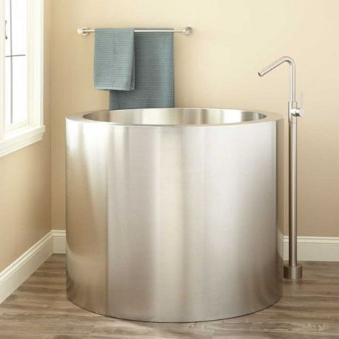 Image Signature Hardware Simone Brushed Stainless Steel Soaking Tub