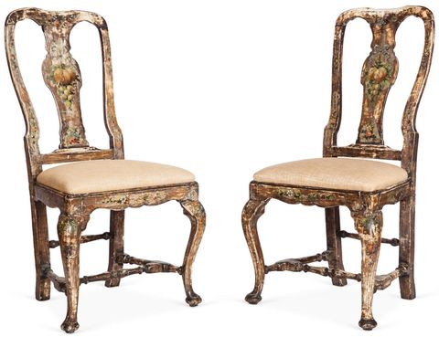 "<p>These distressed, antique chairs are a favorite of Martin's, but he never quite knew what to do with them. He says, ""They have a silvery luster that I can't figure out.""</p>"