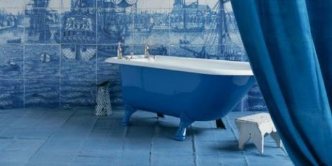 Blue, Plumbing fixture, Bathtub, Watercraft, Floor, Azure, Tall ship, Tile, Sailing ship, Bathtub accessory,