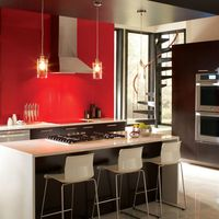 """<p>A daring color from floor to ceiling may be too much in your living room, but it can feel just right in the kitchen. """"I encourage people to go bolder with color if the design will support it because you don't see as much of your wall in a kitchen space,"""" says designer <a href=""""http://www.laurenlevant.com/"""">Lauren Levant Bland</a>.</p>"""