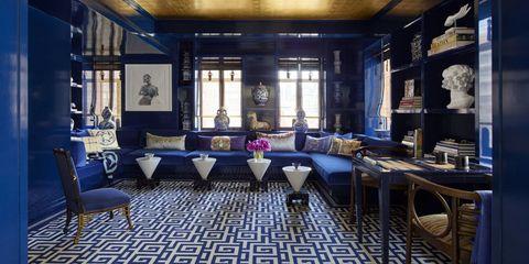 Lighting, Interior design, Room, Floor, Ceiling, Furniture, Glass, Interior design, Majorelle blue, Light fixture,