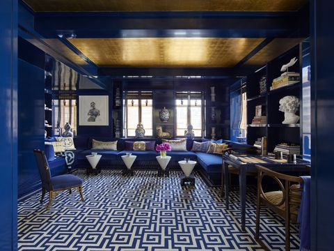 Lighting, Interior design, Room, Floor, Ceiling, Furniture, Glass, Interior design, Majorelle blue, Light fixture,
