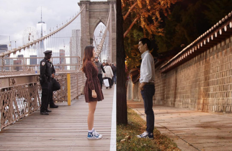 Footwear, Trousers, Bridge, Tourism, Street fashion, Travel, Jacket, Pedestrian, Fixed link, Cable-stayed bridge,