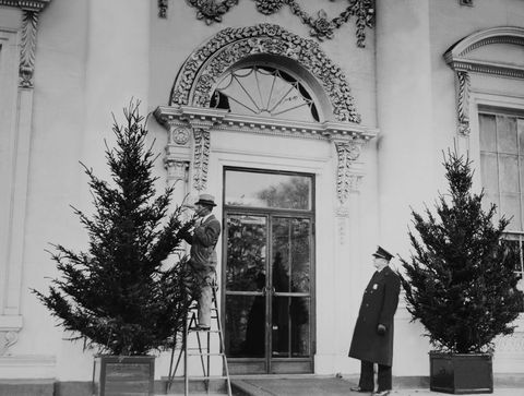 <p>Christmas decorations in the White House on December 18th 1935.</p>
