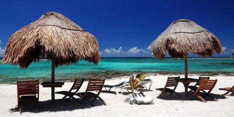Umbrella, Vacation, Tropics, Beach, Tourism, Tree, Thatching, Sky, Palm tree, Hut,