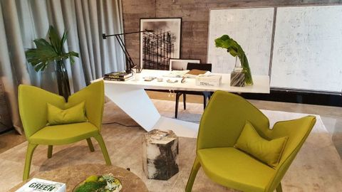 Green, Interior design, Room, Furniture, Table, Interior design, Chair, Coffee table, Club chair, Armrest,