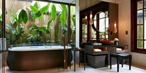 Lighting, Interior design, Glass, Room, Table, Floor, Furniture, Interior design, Fixture, Houseplant,