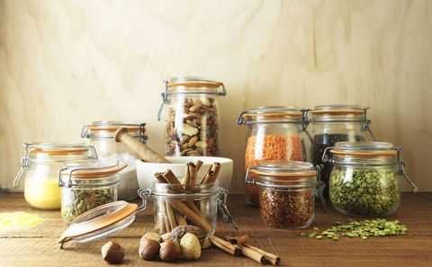 Ingredient, Serveware, Produce, Food storage containers, Mason jar, Nuts & seeds, Lid, Nut, Still life photography, Natural foods,