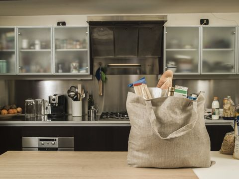 Bag, Paper bag, Small appliance, Kitchen, Luggage and bags, Shoulder bag, Shopping bag, Home appliance, Kitchen appliance, Countertop,