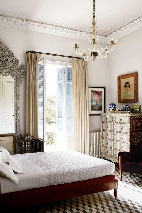 Bedroom, Furniture, Bed, Room, Interior design, Bed sheet, Bed frame, Property, Ceiling, Building,