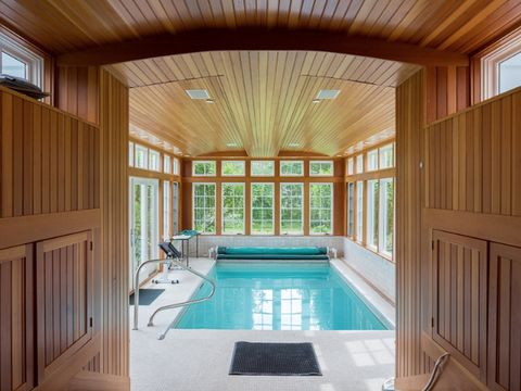 Wood, Swimming pool, Property, Room, Interior design, Ceiling, Hardwood, Floor, Real estate, Fixture,